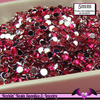 5mm FUCHSIA PINK RHINESTONES Flatback Great Quality / Decoden Crystal Phone Deco (200 pieces)
