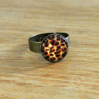 Ring Copper Cute Circle Shape with Brown and Black Leopard Pattern
