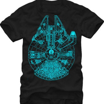 Star Wars Millennium Falcon Glow In The Dark Men's T Shirt