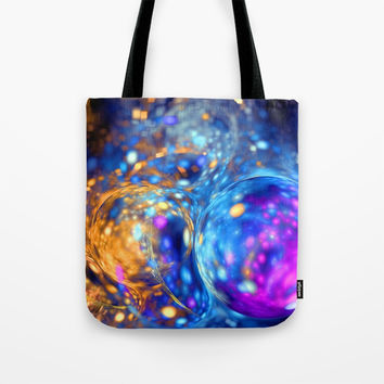 yellow and blue bubbles abstract Tote Bag by Oksana