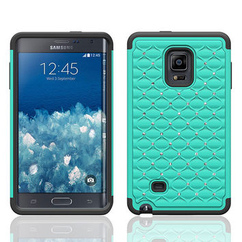 Galaxy Note Edge Case, Crystal Rhinestone Studded Hybrid Dual Layer Shock Resistant Case for Samsung Galaxy Note Edge - Teal/Black