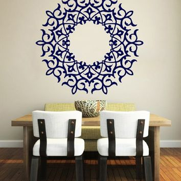 Mandala Wall Decal Namaste Indian Lotus Flower Yoga Ornament Geometric Moroccan Pattern Wall Vinyl Decals Sticker Home Decor Mural Design Graphic Bedroom (6070)