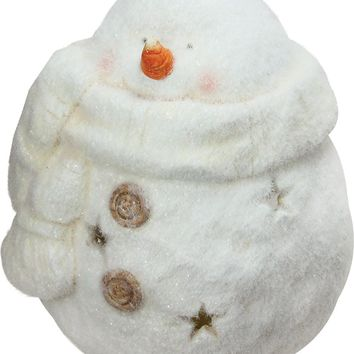 "10.75"" Decorative White Tealight Snowman With Star Cut-Outs Christmas Candle Holder"