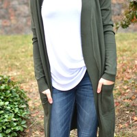 Simplistic Beauty Cardigan - Olive