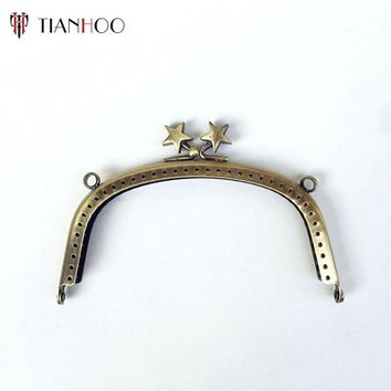 TIANHOO 5pcs 12.5cm Metal Purse Frame Handle Kiss Clasp Lock for Bags DIY Sewing Bag Parts Accessories Bronze Handbag Hardware