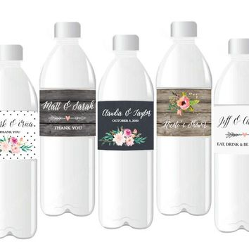 Personalized Floral Garden Water Bottle Labels (Set of 24)