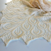 Ecru Hand knitted shawl wedding bridal lovely handmade lace chic elegant scarf stole