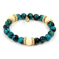 EB64A - Semi Precious Stone and White Bone Beads Strech Bracelet with Weathered Donut Rings