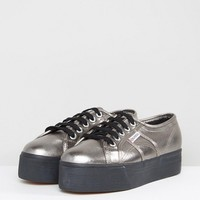Superga 2790 Metallic Flatform Trainers In Gunmetal at asos.com
