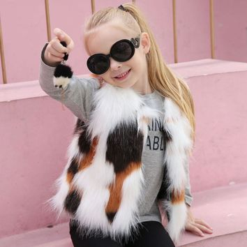 Kid Girl Winter Vest Faux Fur Waistcoat Thick Coat Warm Outwear Girls Clothes children clothing #M