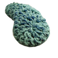 Cotton Face Scrubbies, Handmade, Eco Friendly Makeup Remover FaceCloth Set of 4, Sea Spray Teal