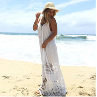 V-neck Backless Spaghetti Strap Lace Long Beach Dress