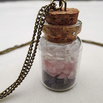 Gemstone Bottle Necklace-Crystal, Rose Quartz, Amethyst