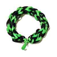 Black and Green Rubber Band Bracelet - Awesome for Sporting Events, Fundraisers, and Party Favors - Stretch Bracelet