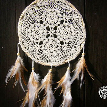 Dream Catcher - Quaternity - Unique Dream Catcher with White Handmade Crochet Web and Natural Feathers - Wedding Decoration, Nursery Decor
