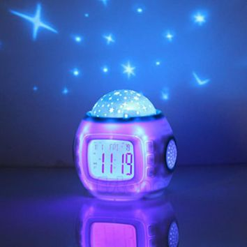 E74 Children Sleeping Sky Star Night Light Projector Lamp Bedroom Alarm Clock music Hot