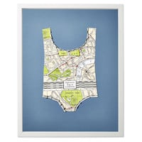 Wolfe, Paper Bathing Suit: London Map, Mixed Media