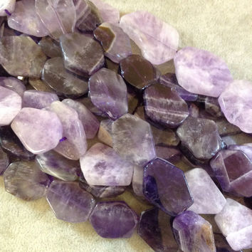 Amethyst Chunky Slab Beads, 20mm x 25mm, approx. 15 beads per strand.