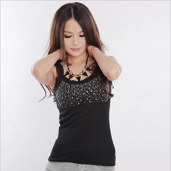 Summer Vest Girl Popular Sleeveless Blouse Casual Tanks Top Women Unique Hot Fix Rhinestone Tank Tops CL53089+30