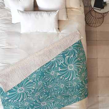 Heather Dutton Bursting Bloom Peacock Fleece Throw Blanket