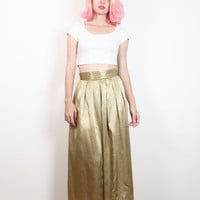 Vintage 1980s Skirt Shiny Champagne Gold Paisley Baroque Print Pleated Waist Midi Skirt 80s New Wave Tea Length Secretary Skirt M L Large XL