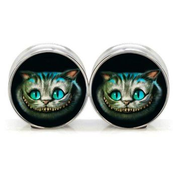 ac PEAPO2Q 1 pair plugs stainless steel Cheshire cat double flare ear plug gauges tunnel body piercing jewelry PSP0022