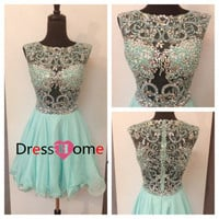 Short lace Homecoming Dress - Blue Short Homecoming Dress / Sweetheart Homecoming Dresses / Short Party Dress
