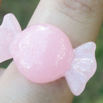 Kawaii Light Pink Candy Ring, Fairy Kei Light Pink Pastel Candy Cabochon Ring