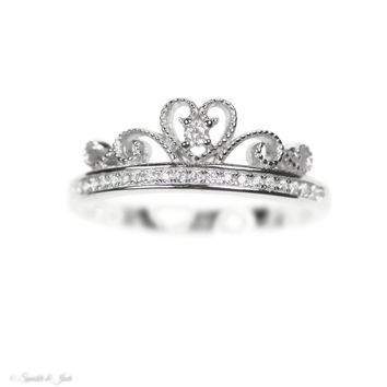 Sterling Silver Beaded Heart Crown CZ Princess Ring