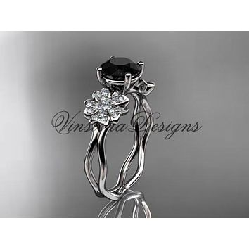 14kt white gold diamond Cherry Blossom flower, Sakura engagement ring  Black Diamond VD8019