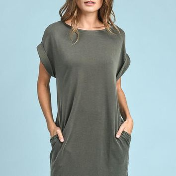 Solid Shift Dress - Olive