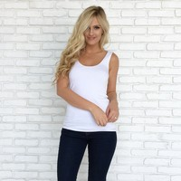 Double Scoop Jersey Tank In White