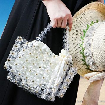 Clear and Gold Acrylic Bead Micro Bag