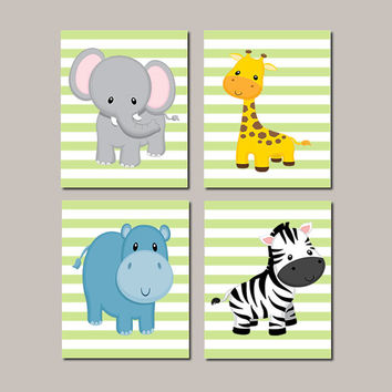 JUNGLE Animals Nursery Wall Art ELEPHANT Giraffe Zebra Hippo Zoo Animals Baby Boy Decor Jungle Bedding Baby Shower Set of 3 Prints Or Canvas
