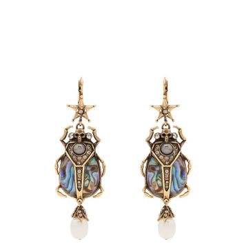 Embellished beetle-drop Abalone earrings | Alexander McQueen | MATCHESFASHION.COM US