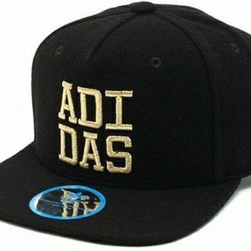 adidas Originals Men's Fitted Flat Brim Cap FB Baseball Wool Mix Black & Gold