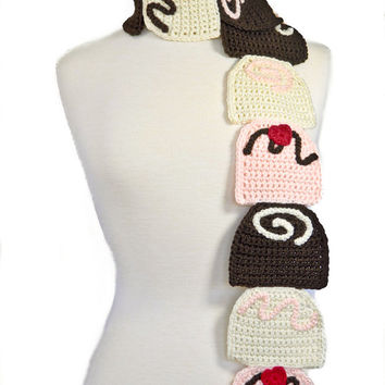 Chocolate Truffle Scarf -Crochet Scarf - Food Scarf - Chocolate Scarf - Kawaii -Brown and pink-Women Scarf