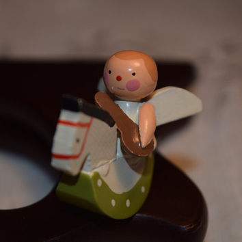 Miniature Wood Angel Rocking Horse Vintage Mini Christmas Angel Tiny Wooden Angel Playing Musical Instrument on Rocking Horse Collectible