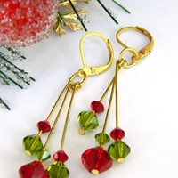 Swarovski Crystal Earrings Christmas Red Green Gold Long Dangle