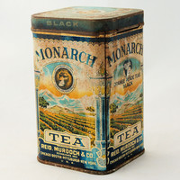 Vintage Monarch Tea Advertising Tin Canister Reid Murdoch Copyrighted 1923