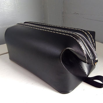 Vintage, Travel Bag, Medicine Bag, Shaving Bag, Zippered Bag, Overnight Bag, Black, Leather, For Him