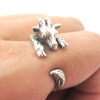 Baby Giraffe Animal Wrap Around Hug Ring In Solid 925 Sterling Silver - Size 4 to 8.5 from DOTOLY