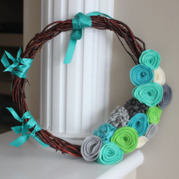 Willow Wreath, Spring Wreath, Teal Wreath, Turqoise Decor, Teal wedding, Rustic Wreath, Felt flower Wreath, Willow Wreath, Blue Wreath, Gift