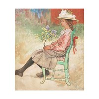 Vintage Girl With Flowers Stretch Canvas Print Art