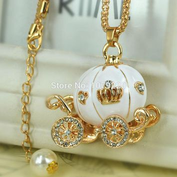 White Pumpkin Sweater Necklace Jewelry Crystal For Women Long Necklace Pendants Rhinestone Chain Christma Valentine's Gift