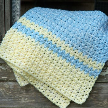 Blue and Yellow with White Vintage Afghan. Baby Blanket, Crochet Throw, Handmade