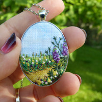 Embroidery necklace Landscape pendant Embroidered lupine Herbs Silver tone Needlework Floral meadow Hand-painted Hand embroidered