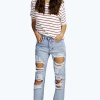 Sara Light Blue Large Rip Boyfriend Jeans