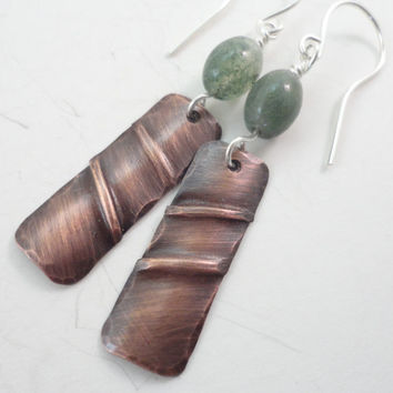 Fold Formed Earrings:Moss Agate and Antiqued Copper Fold Formed Earrings