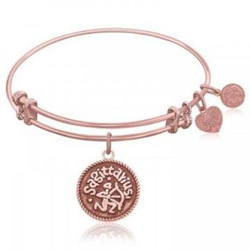 ac NOVQ2A Expandable Bangle in Pink Tone Brass with Sagittarius Symbol